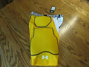 UNDER ARMOUR MPZ 3.0 Compression Padded Yellow Speed Shorts Men's Size L NWT
