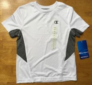 NWT Champion Kid's White and Gray Short Sleeve Dri Fit Athletic Shirt Size: 4 $7.99