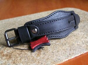 MILITARY WATCH STRAP GENUINE LEATHER CUFF BRACELET BAND 22mm BLACK RED
