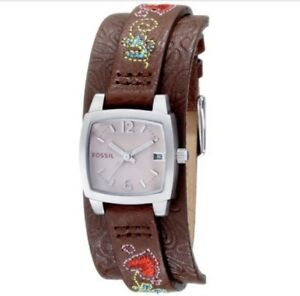 Women's Fossil Original Leather Embroidered Strap Bracelet Watch JR1113
