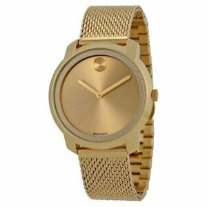 Movado Bold Women's Swiss Gold Ion-Plated Mesh Bracelet Watch 3600242