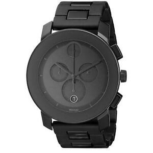 Movado Bold Men's Swiss Chronograph Large Black Polymer Bracelet Watch 3600048