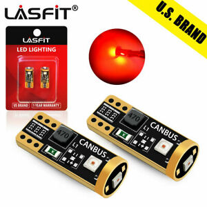 2x LASFIT Red Coro T10 192 194 168 LED Interior Dome Trunk Map Door Light Bulbs