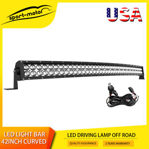 Curved 42inch Led Work Light Bar Spot Flood Combo Driving Lamp 40quot; 44quot; Harness $52.99