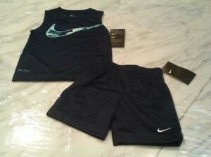 NWT $46 NIKE Toddler Boys Blue Dri Fit Sleeveless Shirt  & Shorts Outfit 22T