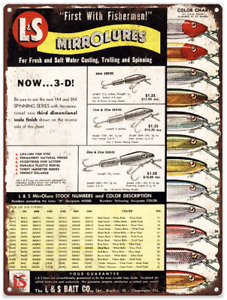 1956 L and S Lamp;S Mirrolure Fishing Lures Man cave Metal Sign Repro 9x12quot; 60390