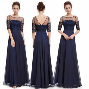 US Long Lace Navy Blue Mother Of Bride Dresses Formal Cocktail Party Dress 08459
