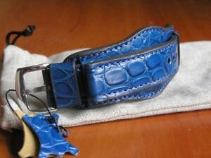 ALLIGATOR CROCODILE BAND GENUINE LEATHER WATCH STRAP BLUE CUFF BRACELET 22mm