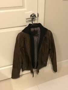 Calvin Klein Brown Men's Faux-Leather Moto Jacket with Hoodie (size Small)