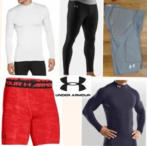 5 lot UNDER ARMOUR compression fit baselayer shirts mpz padded shorts mens small