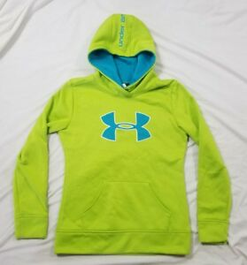Under Armour Youth Girls Neon Green Aqua Blue Hooded Sweatshirt Hoodie Large YLG