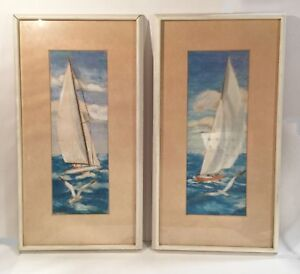 Pair of vintage paintings. Original pastels of sailing ships. Signed Van Andrews $129.00