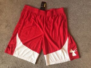 Under Armour Men's Basketball 🏀 Shorts Long Sz XXL 2XL Red white Loose Fit NWT