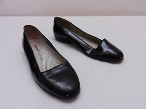 VERY USED Womens 5.5 M FRATELLI ROSSETTI Black Patent Leather Loafers ITALY
