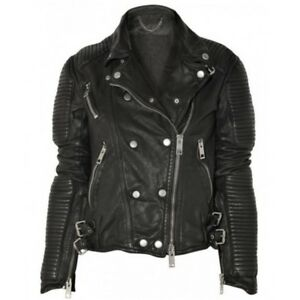 New Leather Jacket Women Motorcycle Genuine Zipper Lambskin Bomber Biker #US05