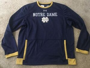 USED LOOSE UNDER ARMOUR NOTRE DAME FOOTBALL TEAM ISSUED COACH WORN 2XL PULLOVER
