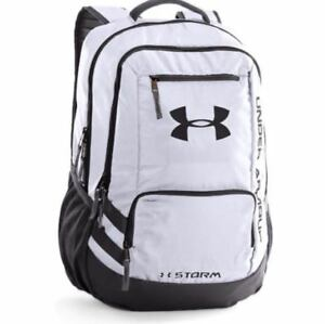 Under Armour UA Team Hustle Backpack White Black Storm Men's Women's 1272782