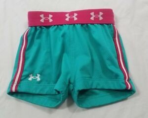 Under Armour Toddler Baby Girls Aqua Blue Pink Athletic Mesh Gym Shorts Size 2T