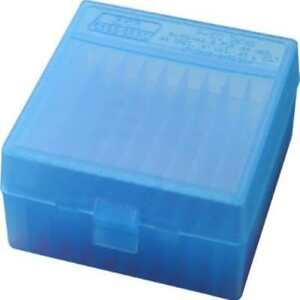 Mtm 100 Round Flip-Top Ammo Box 4144 Cal (Clear Blue) Made In Usa US SELLER New