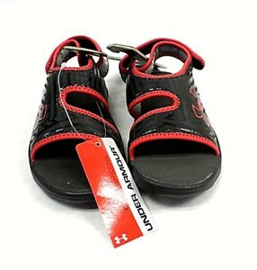 Under Armour Boys UA Flash Sandals SL Youth Size 3 Boys Black and Red Color NEW