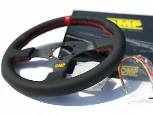 320mm OMP Leather Flat Style Steering Wheel Racing Rally Red Stitch for NRG Hub