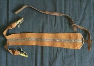 DOUBLE BLACK POWDER FLACK DOUBLE CHARGE WITH LEATHER BAG ANTIQUE BRASS