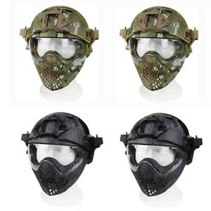 PJ Tactical Fast Helmet Full Face Mask Goggles Game Airsoft Paintball Guard CE