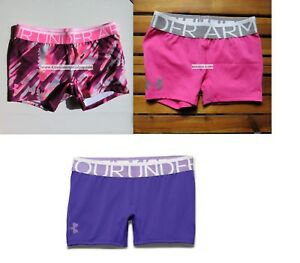 UNDER ARMOUR GIRLS ~ EXTRA LARGE  ~ XL SHORTY FITTED SHORTS ~ PINK PURPLE NEW
