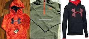 UNDER ARMOUR BOYS YOUTH SIZE 4 ~HOODIE SWEATSHIRTS ~ NEW ~ BLACK RED ORANGE $123