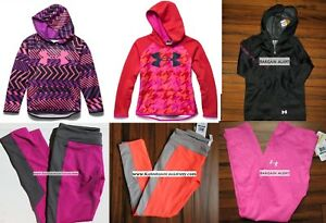 UNDER ARMOUR GIRLS LARGE LEGGINGS ~ HOODIE SWEATSHIRTS ~ TOPS 6PC NEW  $285