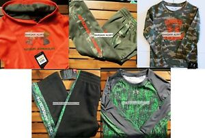UNDER ARMOUR BOYS 4T ~ GREEN BLACK CAMO TRACK PANTS W LONG SLEEVE HOODIE $163