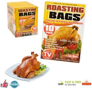 10 Pack Multi Purpose Roasting Bags For Oven and Microwave Chicken Potato Beef