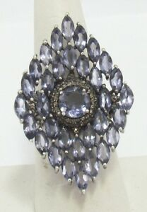 Bavna Iolite Champagne Pave Diamond Cocktail Statement Sterling Ring size 7.5