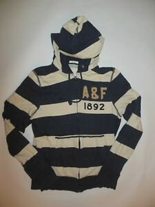 NWOT ABERCROMBIE & FITCH ZIP UP JACKET HOODIE BLUE CREAM STRIPE MUSCLE FIT sz M
