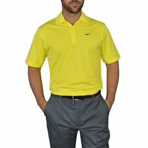 New Nike Golf Dry Fit Tech Golf Shirt - Sonic Yellow
