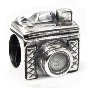 Sterling Silver Classic 3D Photography Camera Bead for European Charm Bracelets