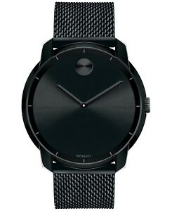MOVADO BOLD 3600261 THIN Dial Black Stainless Steel Mesh Bracelet Unisex Watch