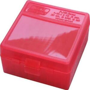 Mtm 100 Round Flip-Top Ammo Box 38357 Cal (Clear Red) Made In Usa US SELLER New