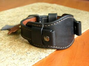 MILITARY WATCH BAND GENUINE LEATHER STRAP CUFF BRACELET UHRENARMBAND 20mm MOSER