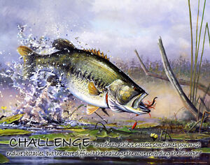 Largemouth Bass Fishing Motivational Poster Print Vintage Fishing Lures MVP157