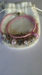 authentic pandora pink leather bracelet with charms