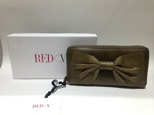 RED VALENTINO Green Leather Women's WALLET with a big Bow and designer logo