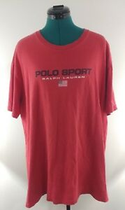 Vintage Polo Sport Ralph Lauren red flag print t-shirt size XL