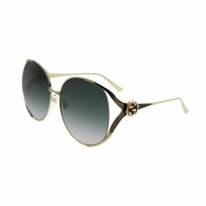 Gucci GG0225S 001 Gold Metal Round Sunglasses Grey Gradient Lens