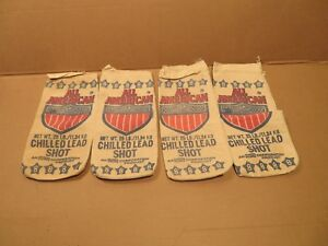 4 Vintage All American 8 Chilled Lead Shot 25 Lb Canvas Bag Empty