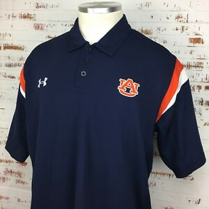 Under Armour Auburn Tigers Men's Polo Shirt Large L Navy Blue Orange Dry Fit