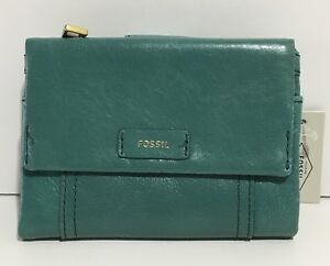 BRAND NEW FOSSIL WOMEN'S ELLIS MULTIFUNCTION LEATHER WALLET TEAL GREEN