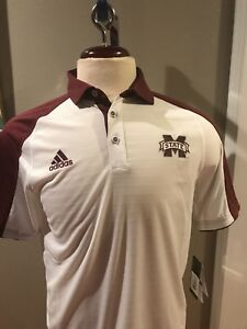 Mississippi State Bulldogs Adidas Medium White Logo Dry-Fit Wick Polo Shirt NWT