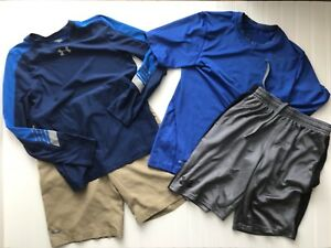 UNDER ARMOUR UA Nike LOT OF 4 Boys Shirts YOUTH MEDIUM Size YMD Golf Shorts
