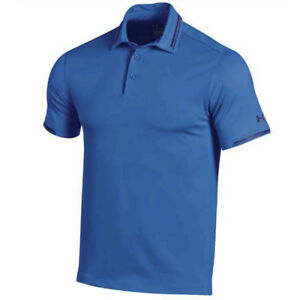 NEW UNDER ARMOUR COLDBLACK TIPPING GOLF POLO ULTRA BLUECASPIAN LARGE